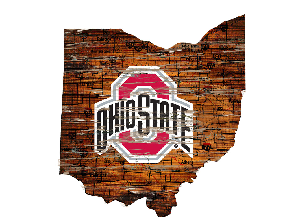 "Ohio State Distressed State with Logo 24"" Wall Art"