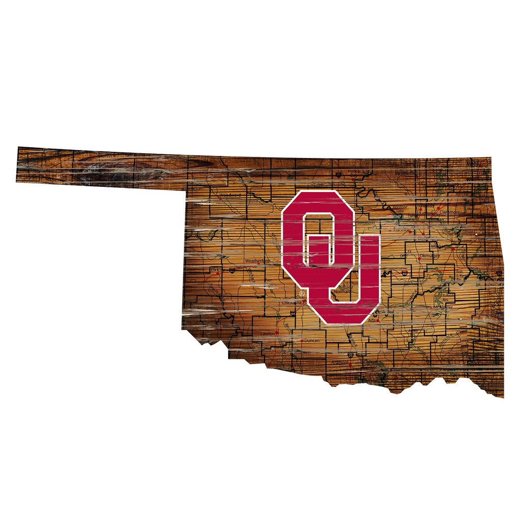 "Oklahoma Distressed State with Logo 24"" Wall Art"