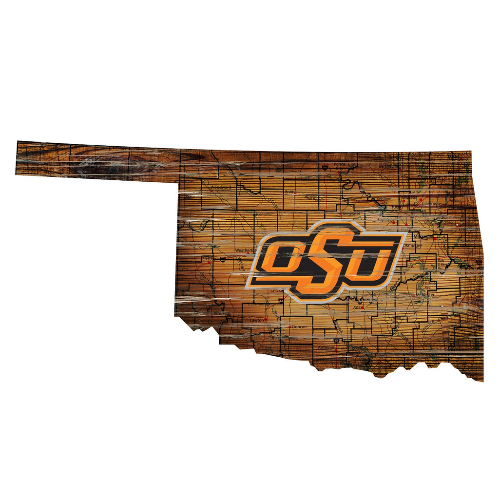 "Oklahoma State Distressed State with Logo 24"" Wall Art"