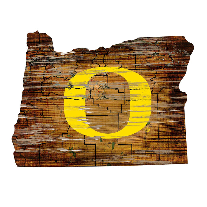 "Oregon Distressed State with Logo 24"" Wall Art"
