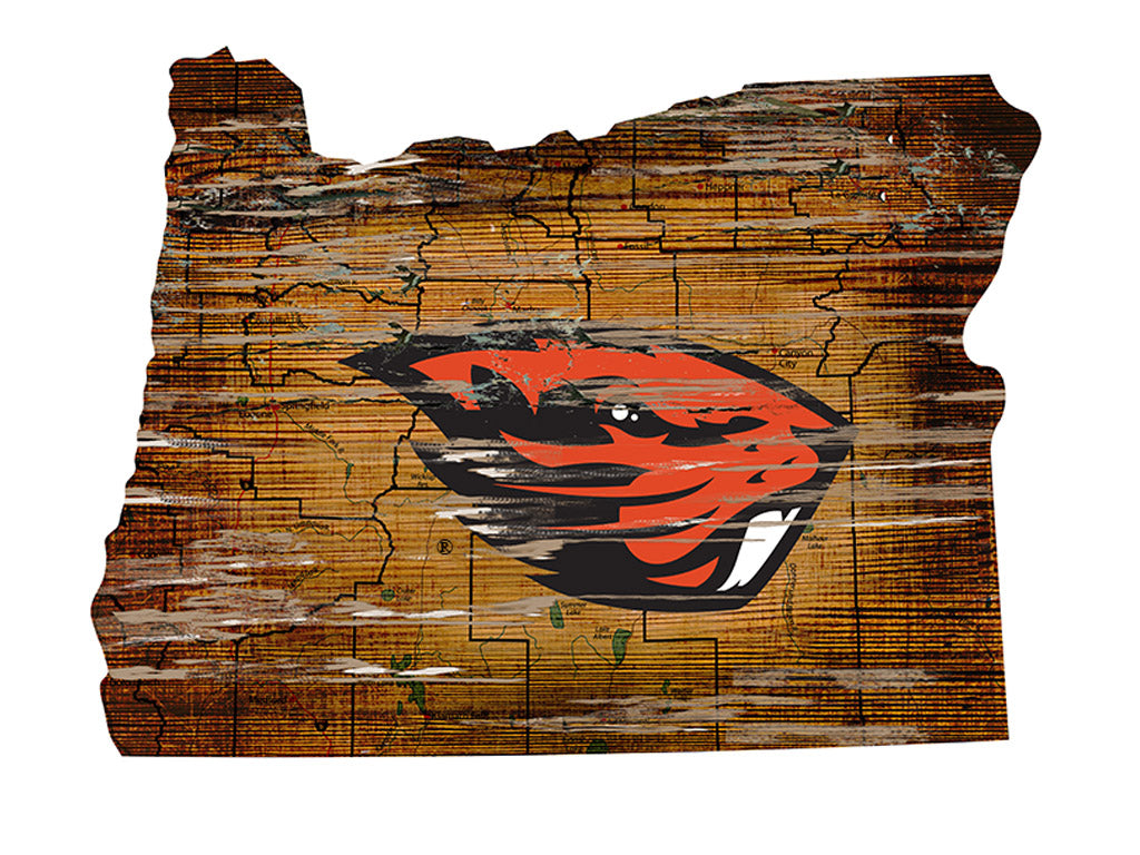 "Oregon State Distressed State with Logo 24"" Wall Art"