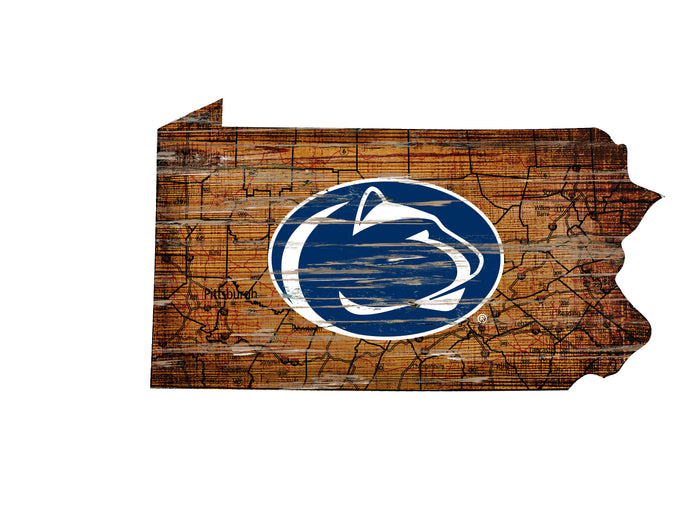"Penn State Distressed State with Logo 24"" Wall Art"