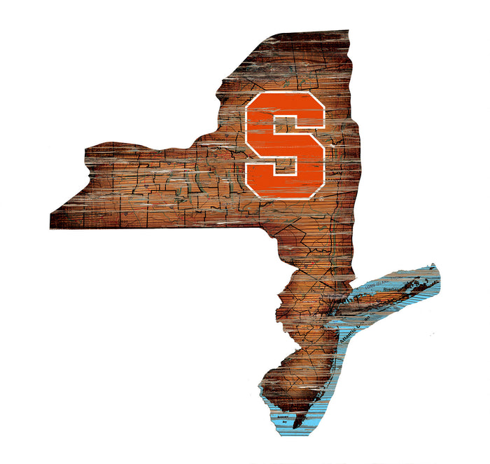 "Syracuse Distressed State with Logo 24"" Wall Art"