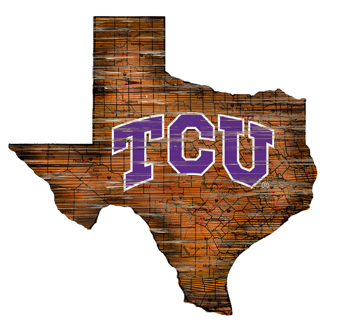 "TCU Distressed State with Logo 24"" Wall Art - Fan Cave Rugs"