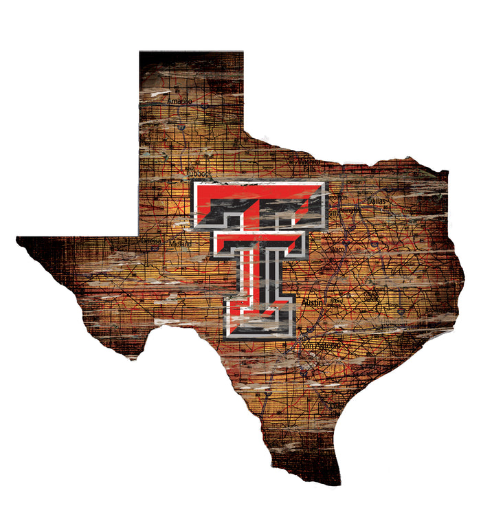"Texas Tech Distressed State with Logo 24"" Wall Art"