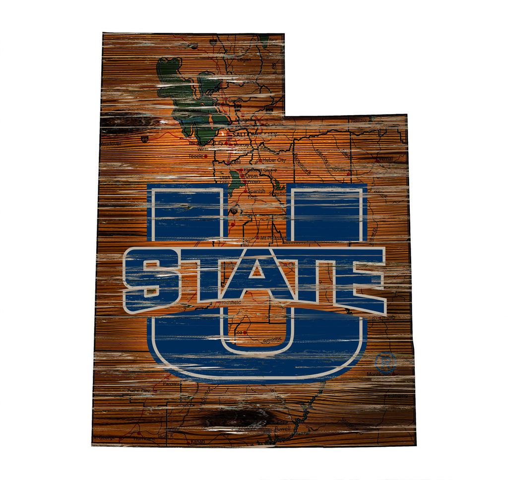 "Utah State Distressed State with Logo 24"" Wall Art"