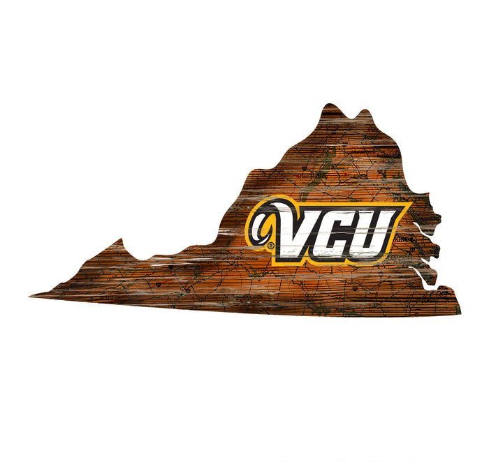 "VCU Distressed State with Logo 24"" Wall Art - Fan Cave Rugs"
