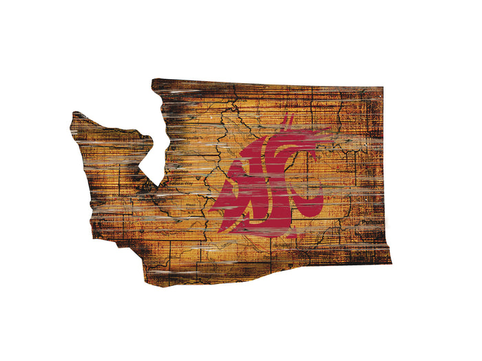 "Washington State Distressed State with Logo 24"" Wall Art"