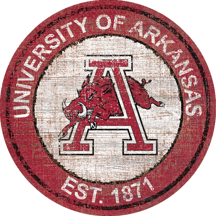 "Fan Cave Rugs:Arkansas Heritage Logo 24"" Round Wall Art"