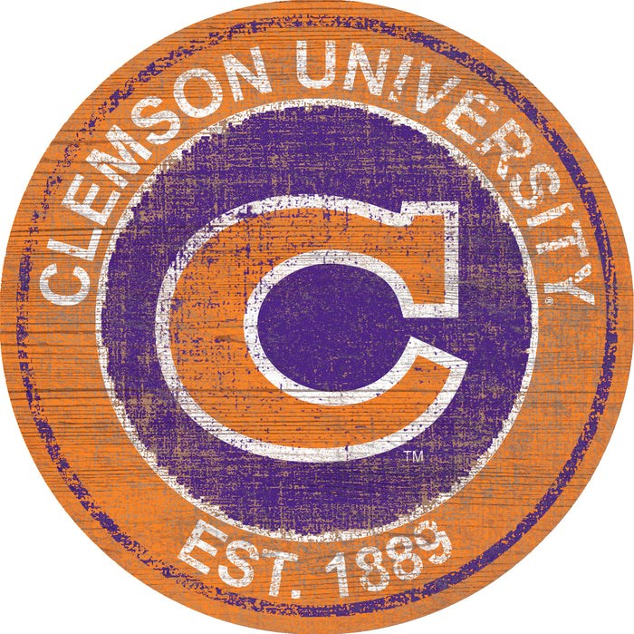 "Fan Cave Rugs:Clemson Heritage Logo 24"" Round Wall Art"