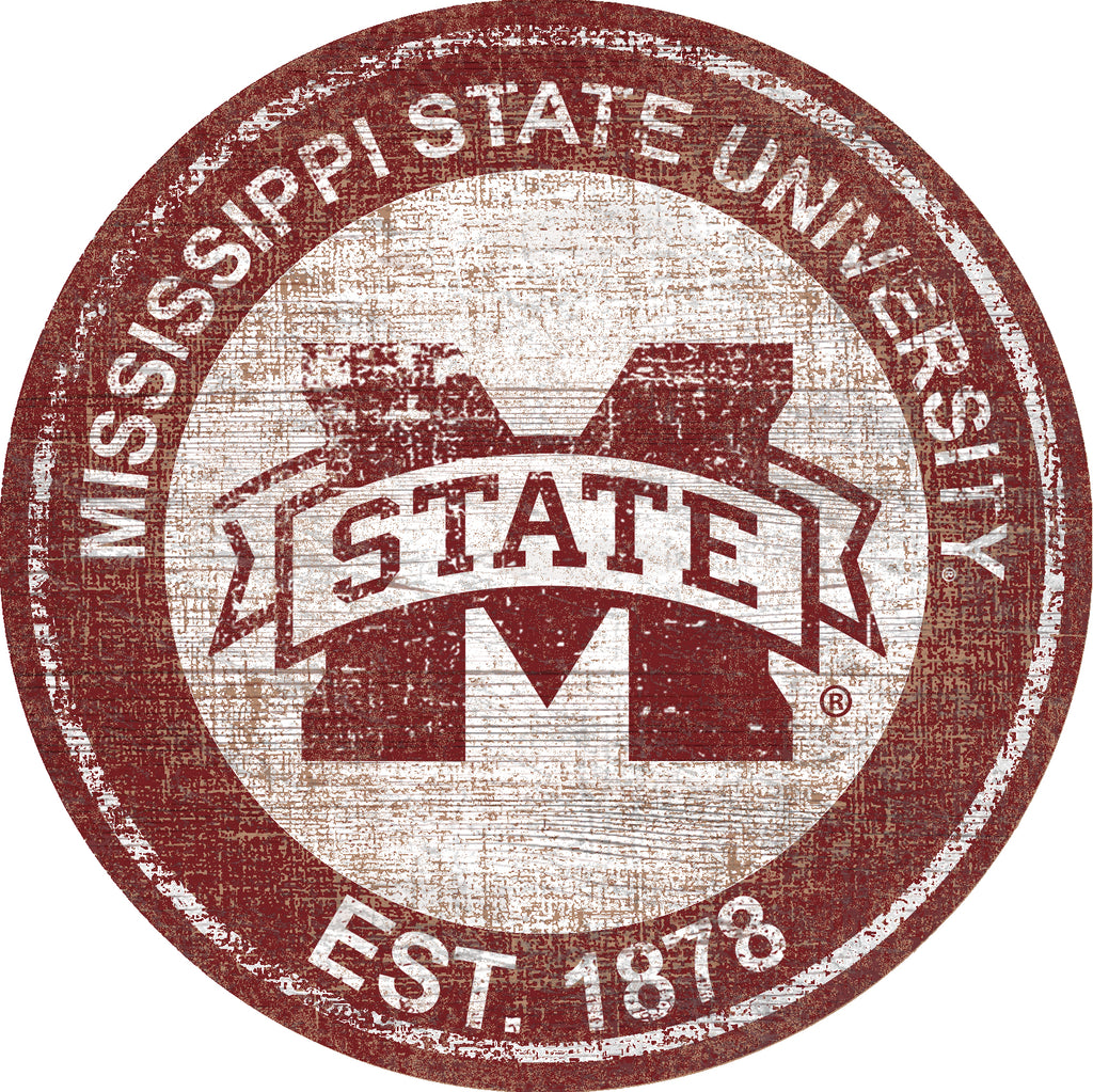 "Mississippi State Heritage Logo 24"" Round Wall Art"