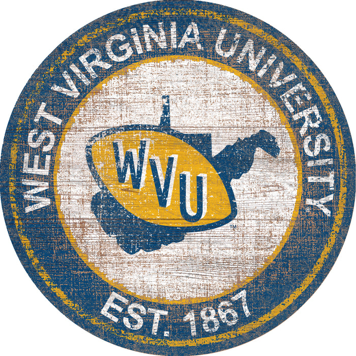 "West Virginia Heritage Logo 24"" Round Wall Art - Fan Cave Rugs"