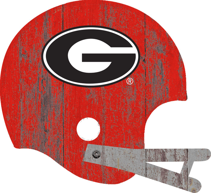 "Georgia Distressed Helmet Cutout 24"" Wall Art"