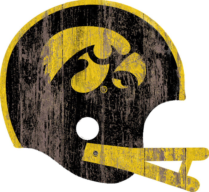 "Iowa Distressed Helmet Cutout 24"" Wall Art"