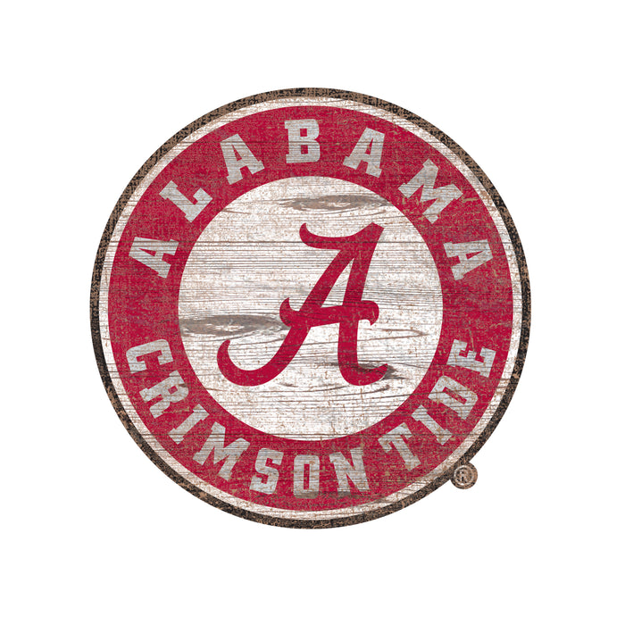 "Alabama Distressed Logo Cutout 24"" Sign - Fan Cave Rugs"