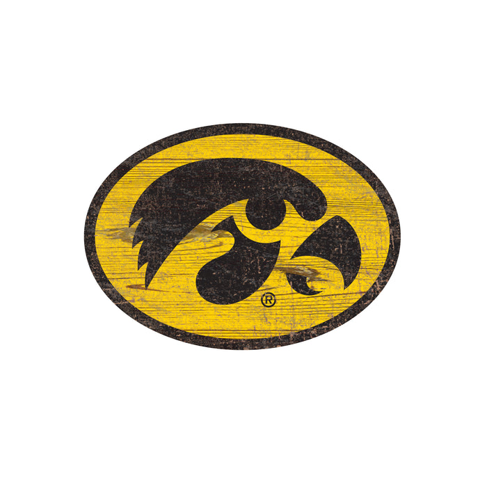"Iowa Distressed Logo Cutout 24"" Sign"