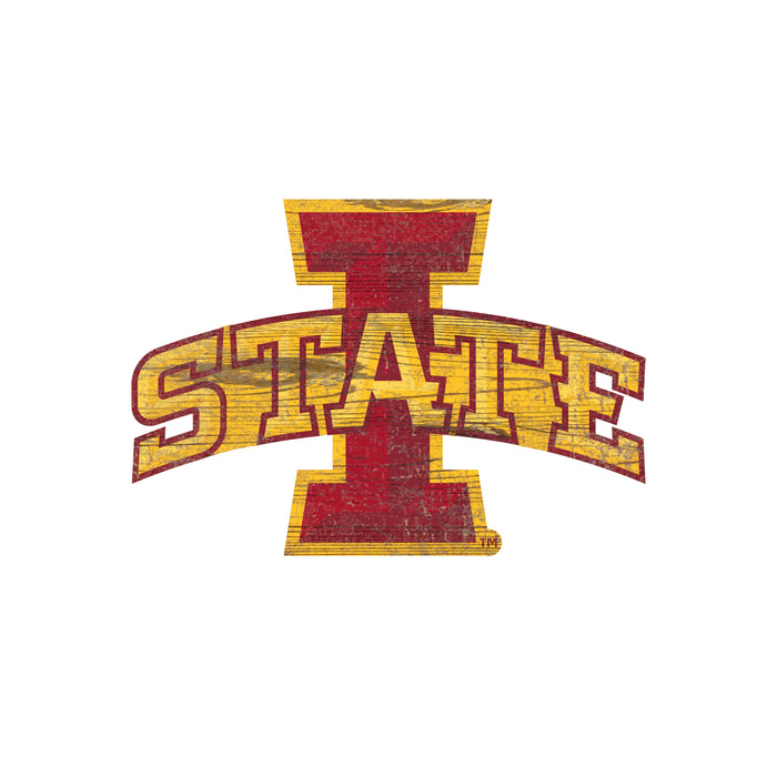 "Iowa State Distressed Logo Cutout 24"" Sign"