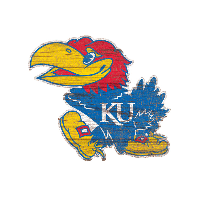"Kansas Distressed Logo Cutout 24"" Sign"