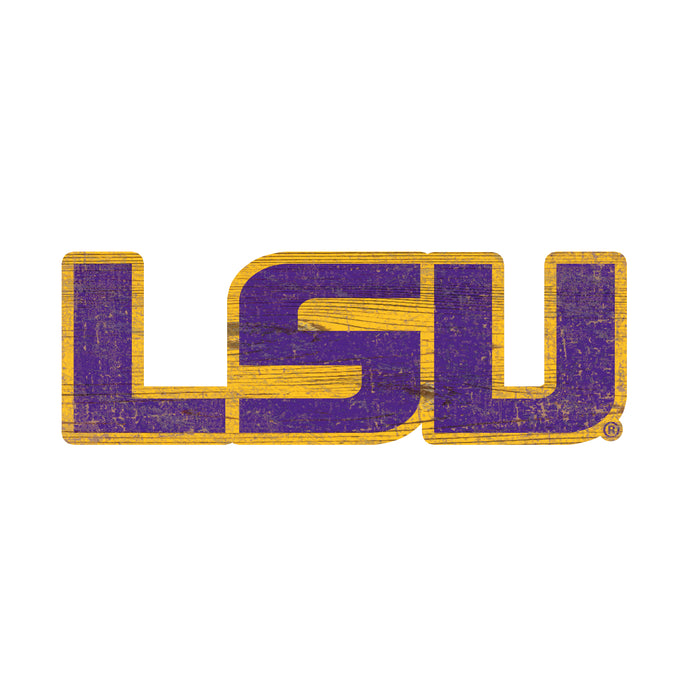 "LSU Distressed Logo Cutout 24"" Sign"