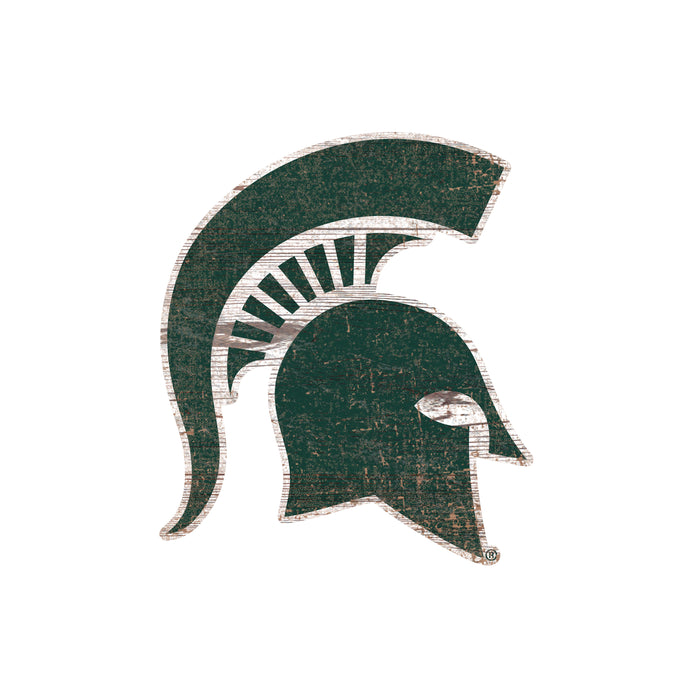 "Michigan State Distressed Logo Cutout 24"" Sign - Fan Cave Rugs"