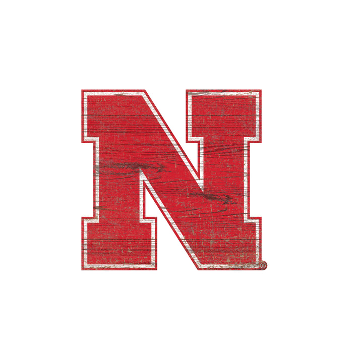 "Nebraska Distressed Logo Cutout 24"" Sign"