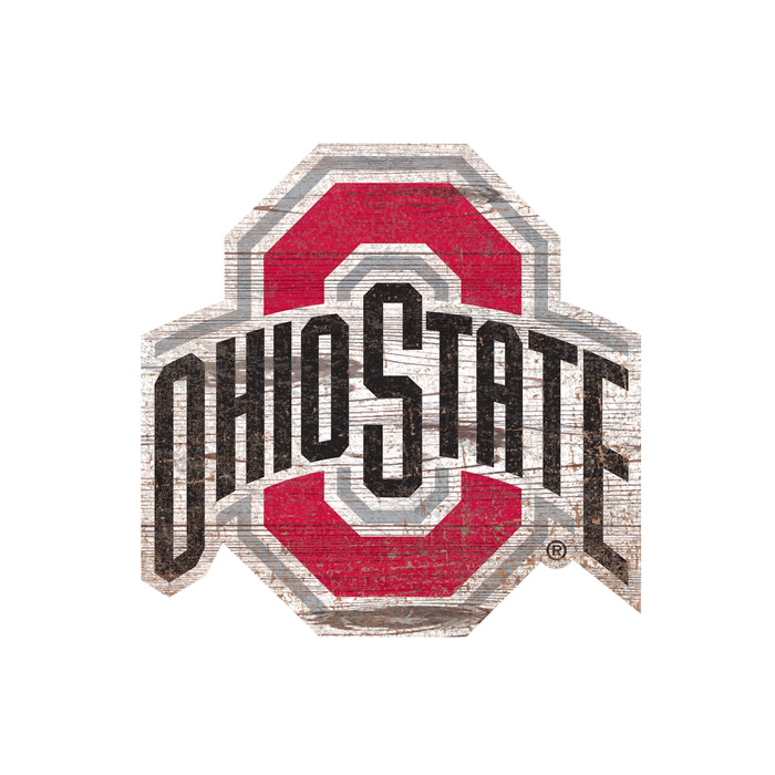 "Ohio State Distressed Logo Cutout 24"" Sign"