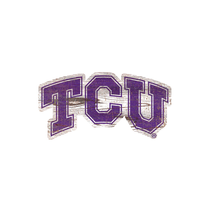 "TCU Distressed Logo Cutout 24"" Sign - Fan Cave Rugs"