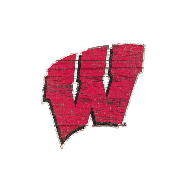 "Wisconsin Distressed Logo Cutout 24"" Sign"