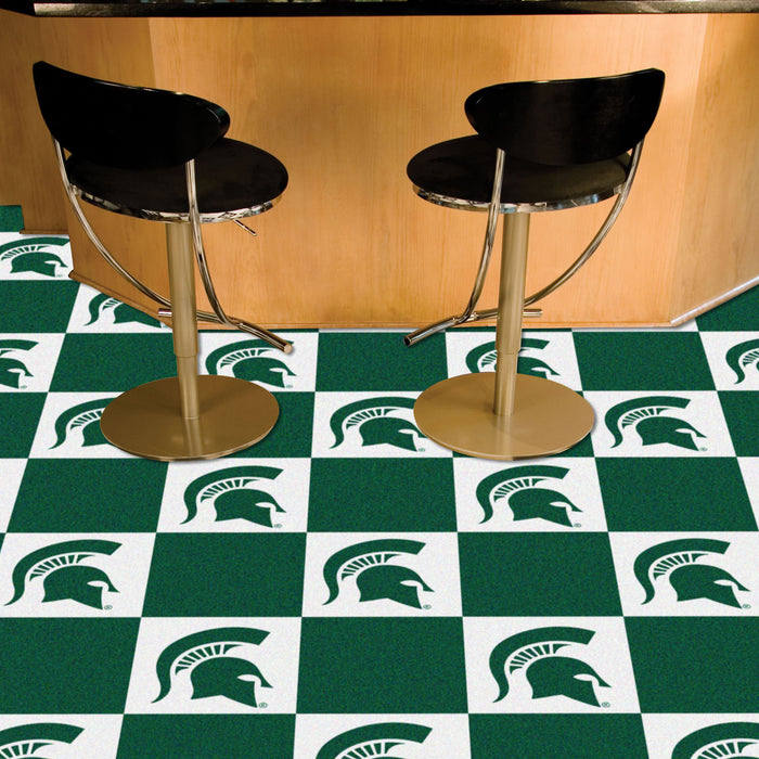 "Michigan State 18""x18"" Carpet Tiles - Fan Cave Rugs"