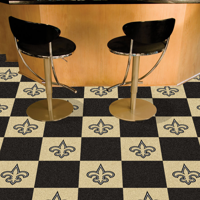 "NFL - New Orleans Saints 18""x18"" Carpet Tiles - Fan Cave Rugs"