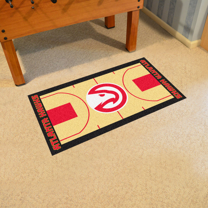 NBA - Atlanta Hawks Large Court Runner 29.5x54 - Fan Cave Rugs