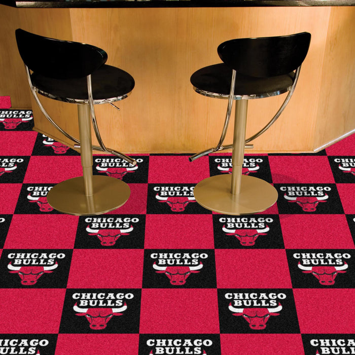 "NBA - Chicago Bulls 18""x18"" Carpet Tiles - Fan Cave Rugs"
