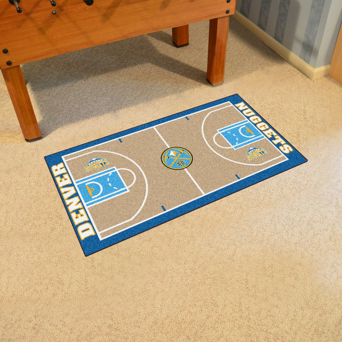 NBA - Denver Nuggets Large Court Runner 29.5x54 - Fan Cave Rugs