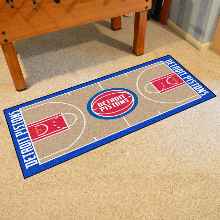 NBA - Detroit Pistons Large Court Runner 29.5x54 - Fan Cave Rugs