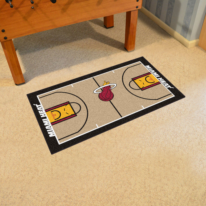 NBA - Miami Heat Large Court Runner 29.5x54 - Fan Cave Rugs
