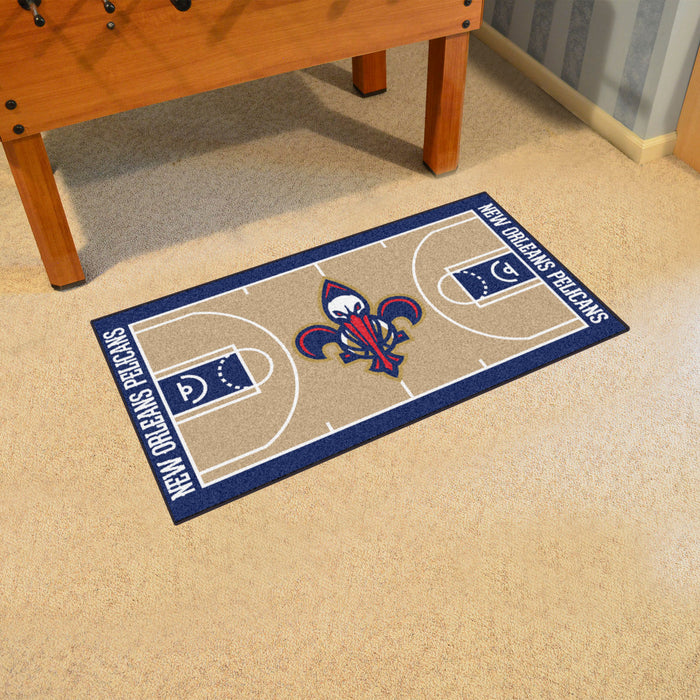 NBA - New Orleans Pelicans Large Court Runner 29.5x54 - Fan Cave Rugs