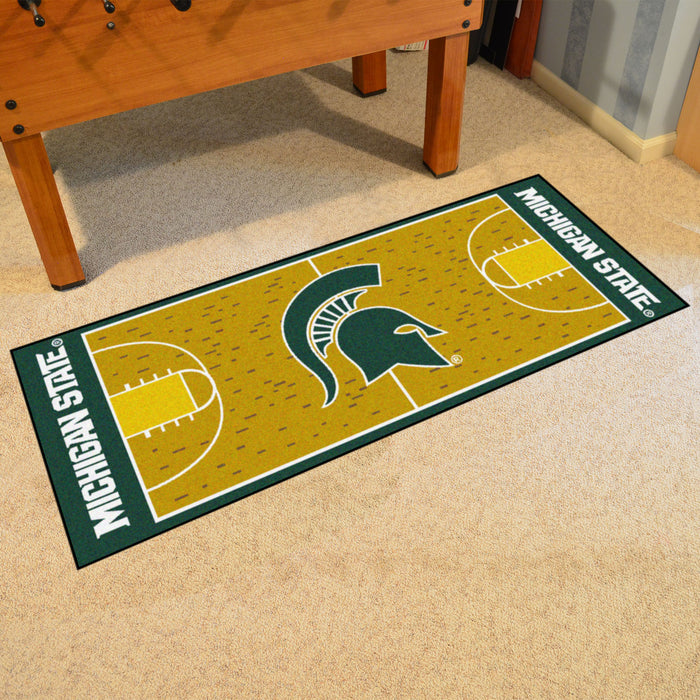 "Michigan State Basketball Court Runner 30""x72"" - Fan Cave Rugs"