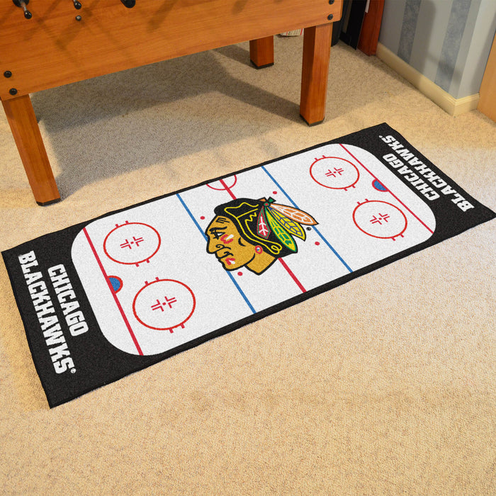 "NHL - Chicago Blackhawks Rink Runner 30""x72"" - Fan Cave Rugs"
