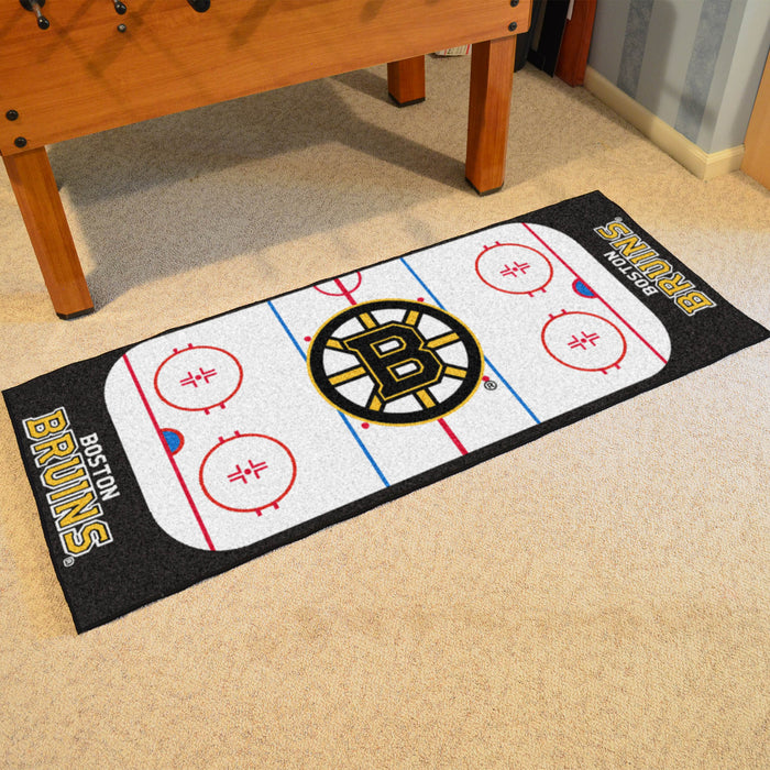 "NHL - Boston Bruins Rink Runner 30""x72"" - Fan Cave Rugs"