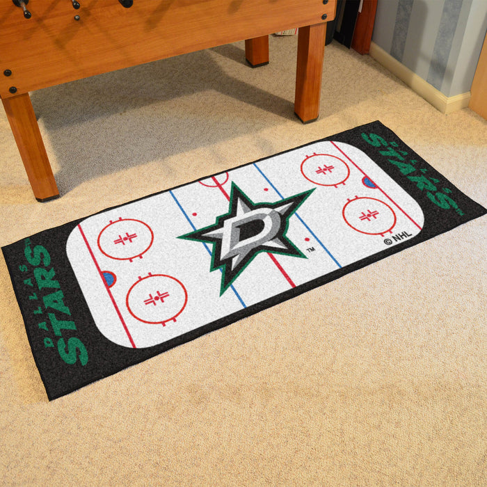"NHL - Dallas Stars Rink Runner 30""x72"" - Fan Cave Rugs"