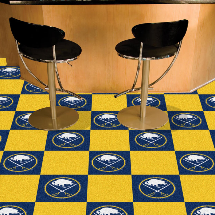 "NHL - Buffalo Sabres 18""x18"" Carpet Tiles - Fan Cave Rugs"