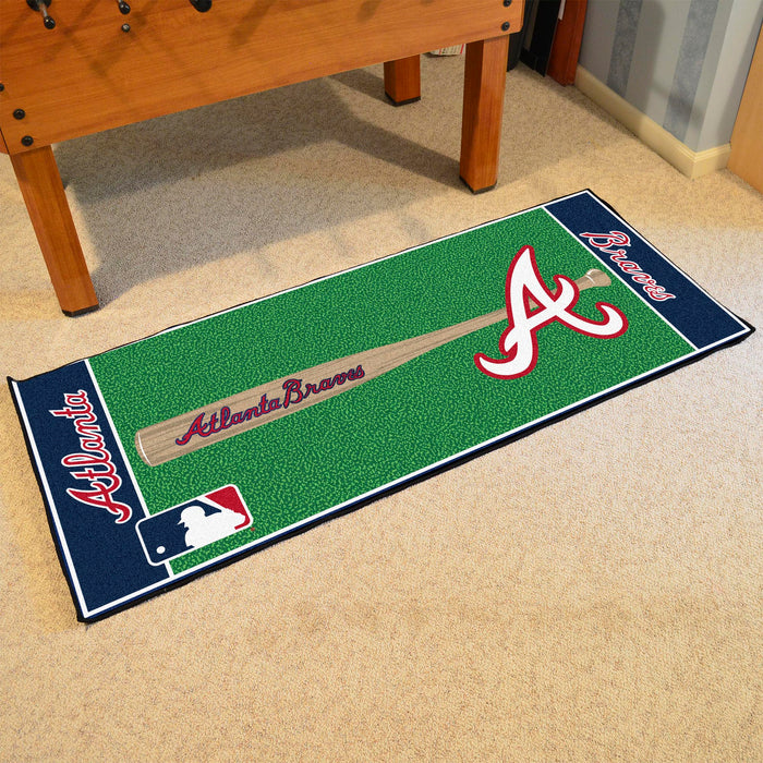 "MLB - Atlanta Braves Baseball Runner 30""x72"" - Fan Cave Rugs"