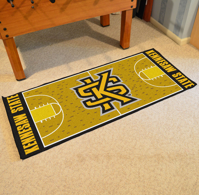 "Kennesaw State Basketball Court Runner 30""x72"" - Fan Cave Rugs"