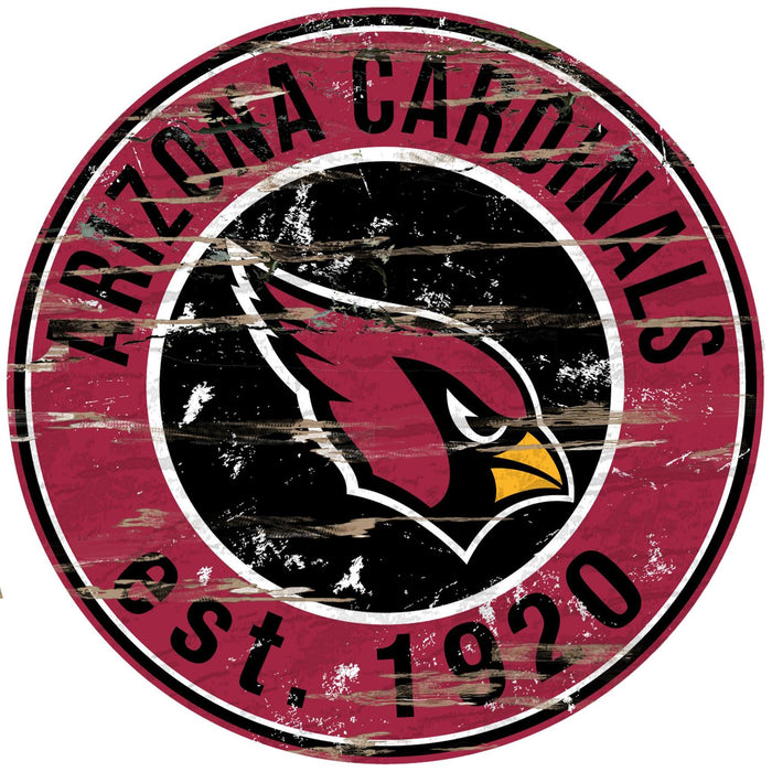 "Arizona Cardinals Distressed 24"" Round Sign - Fan Cave Rugs"