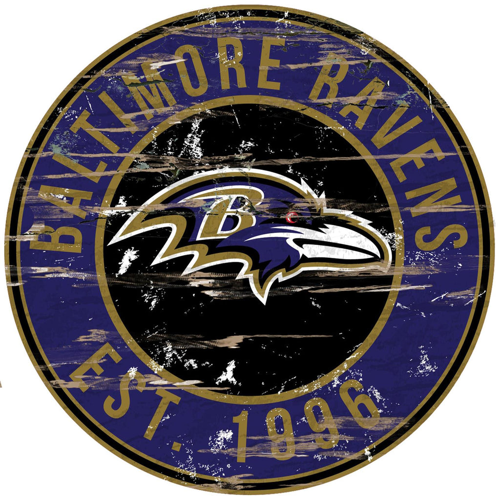 "Baltimore Ravens Distressed 24"" Round Sign"
