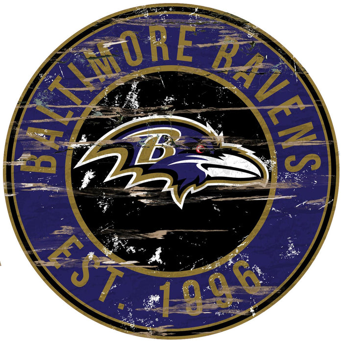 "Baltimore Ravens Distressed 24"" Round Sign - Fan Cave Rugs"