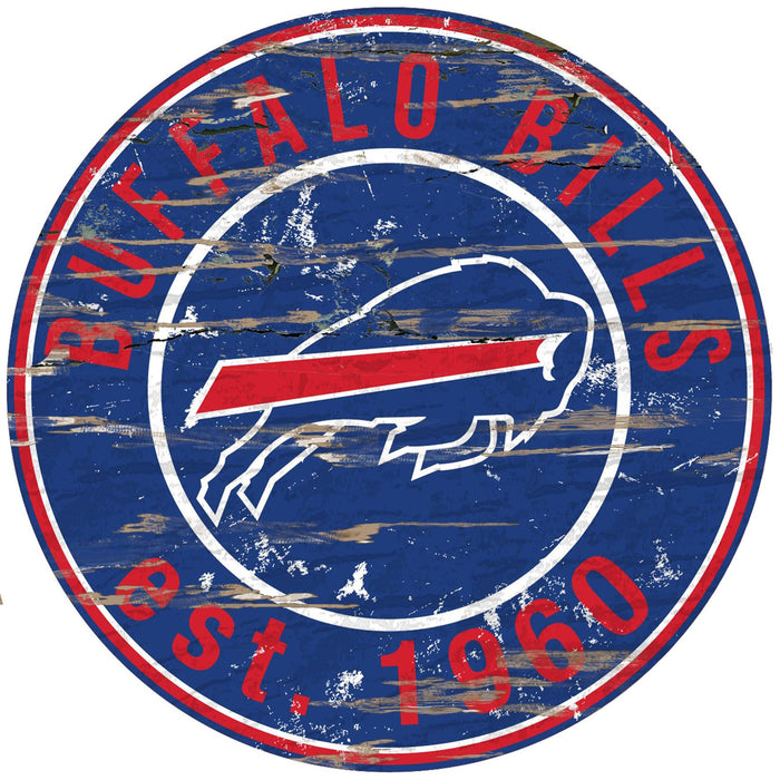 "Fan Cave Rugs:Buffalo Bills Distressed 24"" Round Sign"