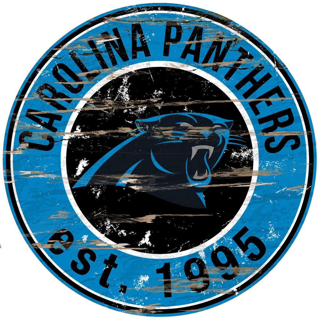 "Carolina Panthers Distressed 24"" Round Sign"