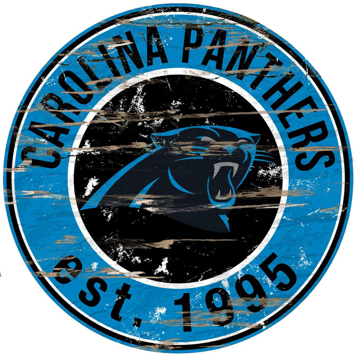 "Fan Cave Rugs:Carolina Panthers Distressed 24"" Round Sign"