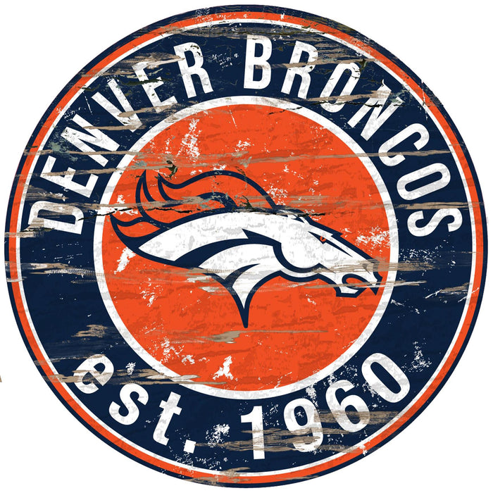 "Denver Broncos Distressed 24"" Round Sign - Fan Cave Rugs"